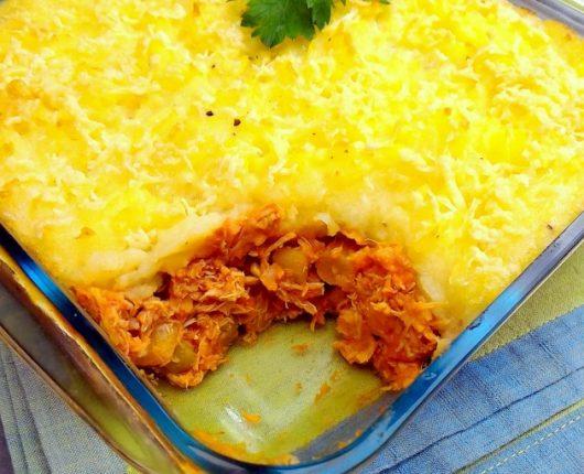 Torta Madalena de frango com legumes